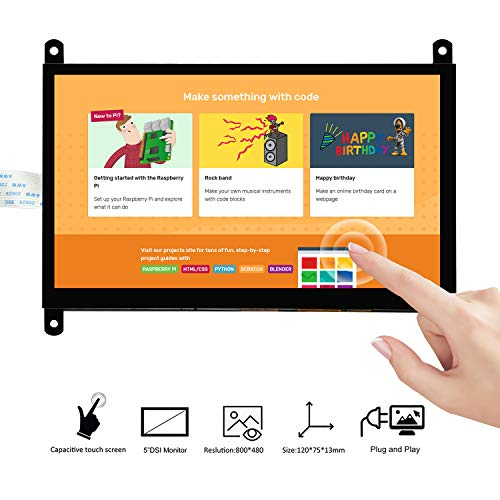 OSOYOO 7 Inch DSI Touch Screen LCD Display 800x480 for Raspberry Pi 4 3 3B+ 2 | Portable Capacitive Touchscreen Monitor with DSI Cable | Easy to DIY Create IOT Circuits and Learn Coding for Beginners
