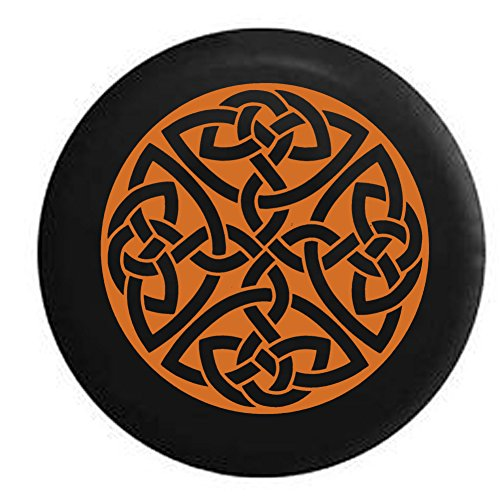 American Educational Products Orange - Celtic Cross Knot Irish Shield Warrior Spare Tire Cover Fits: SUVs RV and Camper Spare Tire Covers Black 33 in
