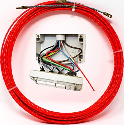 Guía pasacables 100% Poliéster Trenzada Monofilamento 3mm 15 Metros y terminales fijos, cable puller electricista definitivo