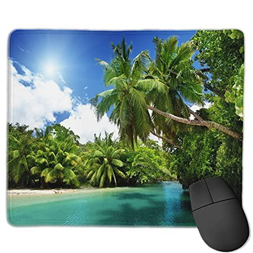 Dekoratives Gaming-Mauspad,See und Palmen, Mahe Island, Seychellen,Bürocomputer-Mausmatte mit rutschfester Gummibasis