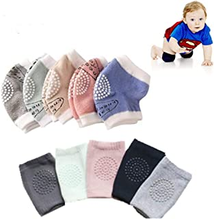 Baby Knee Pads 10 Pairs Unisex Baby Toddlers Crawling Sports Anti-Slip Leg Warmers Hard Smooth Knee Pads (0-3 Years)