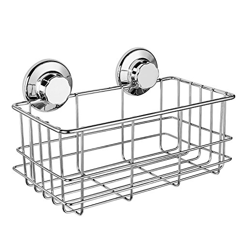 iPEGTOP Suction Cup Deep Shower Caddy Bath Wall Shelf for Large Shampoo Shower Gel Holder Bathroom Storage  Rustproof Stainless Steel