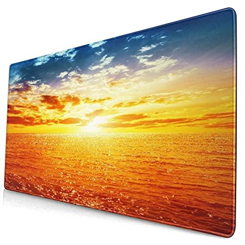 Grande Juego de Azar Alfombrilla de Ratón-75 x 40cm,Puesta de sol sobre el mar en viajes de luna de miel de horizonte ama,Alfombrilla de Teclado para el Cojín de Escritorio de la Computadora Portátil