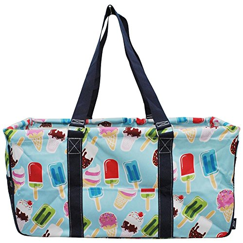 NGIL All Purpose Open Top 23' Classic Extra Large Utility Tote Bag Spring 2018 Collection (Ice Cream World Aqua)