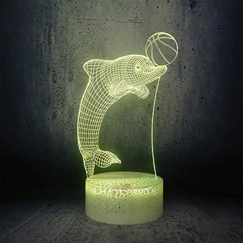 Linterna Mágica 3D Luz De Noche Led Lindo Delfín Jugando A La Pelota De Dibujos Animados Niños Juguete Usb Regalo Mejor Regalo De Vacaciones De Cumpleaños Para Niños