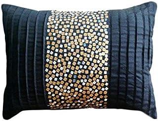 Starbust Fizz - Decorativa Funda de Cojin 30 x 40 cm, Rectangle/Lumbar Negro Seda Oro y Plata Lentejuelas