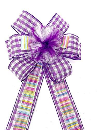 Purple Velvet 4010 Wired Purple Velvet Outdoor Wreath Bows