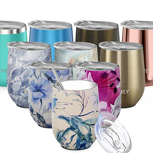 Stainless Steel Insulated Wine Tumbler - THILY Stemless Wine Glass with Lid and Straw, Splash-proof, Reusable, Cute Travel Cup for Coffee, Cocktails, Keep Drinks Cold, Gifts for Women, Girls, Orchid