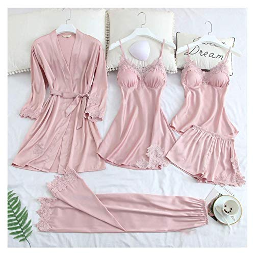 sdfa Blushy Silk Pajamas Set, Blush Silk 5 Piece Pajama Set with Robe, Womens Satin Pajama Set (Pink, L)
