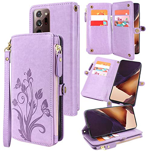 Lacass [Cards Theft Scan Protection] 10 Card Slots Holder Zipper Pocket Wallet Case Flip Leather Cover with Wrist Strap Magnetic Closure Stand for Samsung Galaxy Note 20 Ultra 5G(Purple)