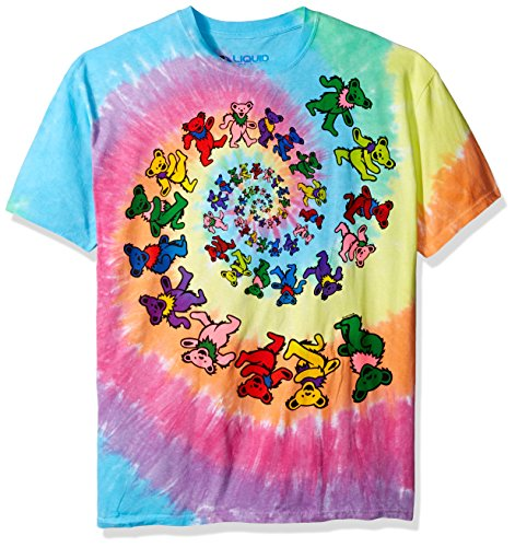 Liquid Blue Men's Grateful Dead Spiral Bears T-Shirt, Multi, Small