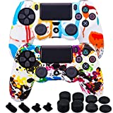 MXRC Silicone Rubber Cover Skin case Anti-Slip Water Transfer Customize Camouflage for PS4/SLIM/PRO Controller x 2(Paint Pack) + FPS PRO Extra Height Thumb Grips x 8 + Dustproof Plug x 4