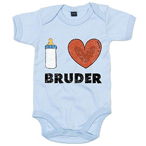 Shirt Happenz I Love Bruder Premium Babybody Baby Milch Neugeboren Mädchen Kurzarmbody, Farbe:Babyblau (Dusty Blue BZ10);Größe:6-12 Monate