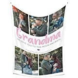 Personalized Throw Blankets with Photos Collage Customized blanket with Picture, Cozy Fleece Blanket Customizable as Gifts for Grandma and Mom from Daughter Son Husband on Christmas New Year|32'X48'