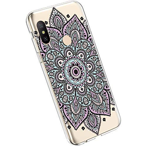 Ysimee Compatible avec Xiaomi Mi A2 Lite/Redmi 6 Pro Coque Créatif avec Motif Colorés Imprimés Housse Silicone Transparente Etui Ultra Slim Soft Case Antichoc Bumper Housse de Protection,Mandala #8
