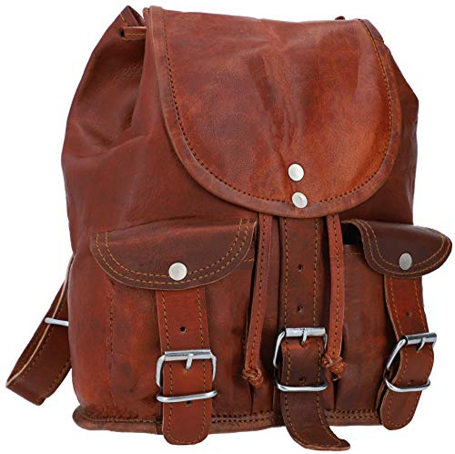 Gusti Backpack Leather - Lena Brown Leather Backpack Ladies Small