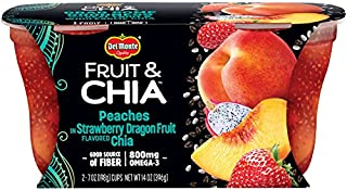 Del Monte Fruit & Chia Snack Cups, Peaches in Strawberry Dragon Fruit Flavored Chia, 7-Ounce, 2-Count (Pack of 6)