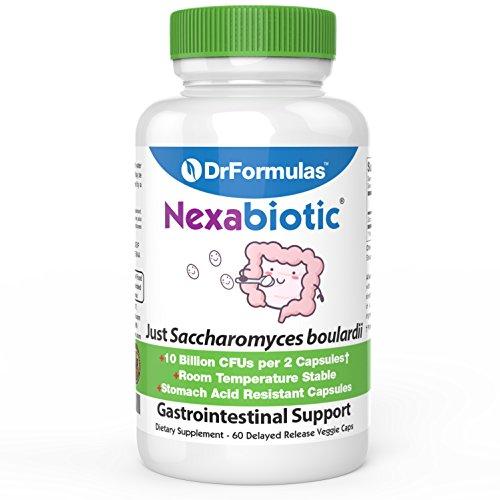 Nexabiotic Saccharomyces Boulardii Probiotic 10 Billion CFUs S boulardii, Immune and Digestive Support Supplement, 60 Stomach Acid Resistant Capsules