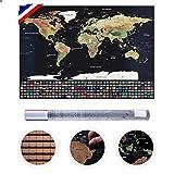 Westeros Mapa del mundo para rascar extra grande A1 (82 x 59 cm) para los viajeros, póster y ersonnalizado, edición Premium con banderas de todos los Países, tubo y accesorios, francés