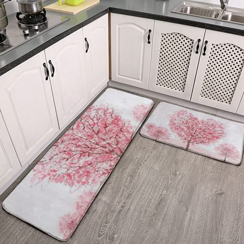 Kitchen Mat 2 Pcs Cushioned Anti-Fatigue Kitchen Rug Valentine's Day Pink Sakura Tree Cherry Blossom Waterproof Non-Slip Kitchen Mats and Rugs Ergonomic Comfort Standing Foam Mat for Kitchen