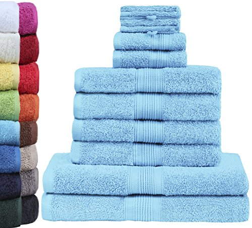GREEN MARK Textilien 10 TLG. FROTTIER Handtuch-Set mit verschiedenen Größen 4X Handtücher, 2X Duschtücher, 2X Gästetücher, 2X Waschhandschuhe | Farbe: Hellblau | Premium Qualität