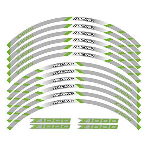 Hjunisshkm Un Conjunto de calcomanías de Rueda de Motocicleta de 12 unids Impermeable Etiquetas Reflectantes Rimas de llanta para Ka*wasa*ki Z1000 ahdyj (Color : Green 2)