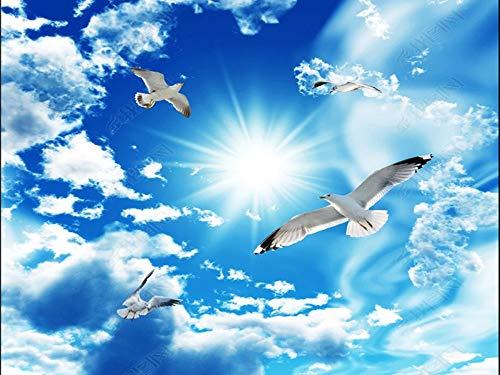 Fototapete 3D Effekt Tapete Blauer Himmel Weiße Wolken Himmel Möwe Decke Vliestapete 3D Wallpaper...