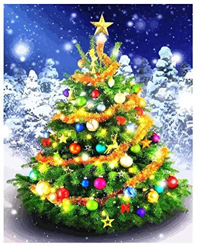 DIY pintura kit de diamantes de imitación,árbol de Navidad Manualidades para decoración de Pare-16x20inch/sin marco