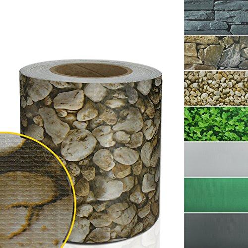 Sichtschutzstreifen PVC | Sichtschutzfolie Gartenzaun oder Balkon | inkl. 20 Befestigungsclips | für Einzel- und Doppelstabmatten geeignet | 19 cm x 35 m | einfarbig oder mit Motiv| Kies-Optik