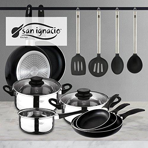 San Ignacio PK332 Set Tres sartenes + Batería 5 Piezas + Juego de Utensilios de Cocina, Cromado