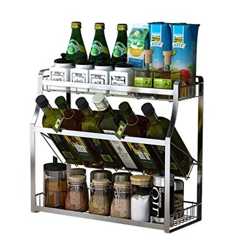 MTX-RACK Gewürzregal für Küchens, Küchenregal Aus Edelstahl 304, Wand-Gewürzregal, Multifunktions-Gewürzbox, Lochfreier Boden Mehrschichtig für Gewürzdose, Dose, Flasche und mehr