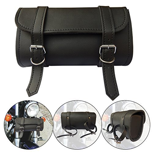 ARD CHAMPS Motorcycle Tool Bag Handlebar Saddle Bag PU Leather Storage Tool Pouch 2 Strap Closure