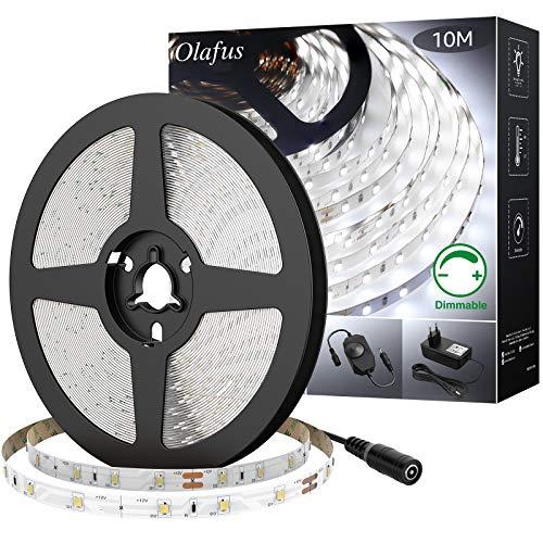 Olafus LED Strip 10M Kaltweiß Dimmbar, mit 12V Netzteil 6000K LED Streifen mit 600 Stück 2835 LEDs, Lichtband LED Selbstklebend, Lichtleiste für Hintergrund, Küche, Schrank, Bett, Party, DIY Deko