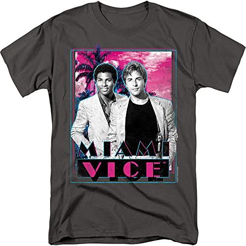 Camiseta de manga corta para adulto con diseño de Miami Vice Crimen, Detective Drama TV Series NBC Gotchya - Gris - Medium