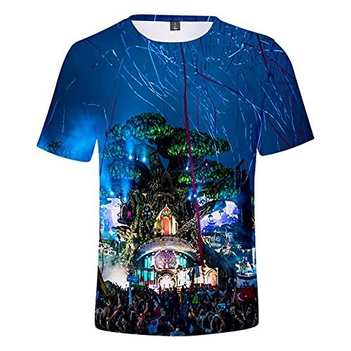 CYANDJ-Tomorrowland-Camiseta DE Manga Corta Impresa EN 3D para NIÑOS, Polo DE Ocio para NIÑOS DE Verano, Camiseta DE Playa DE Dibujos Animados UNISEX-160