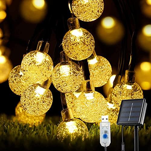 Guirnalda Luces Exterior Solares, OxyLED 59 Ft 100 LED Cadena de Luces USB Recargable IP65 Impermeable Luces LED Decorativas de Hadas para Jardín, Bodas, Eésped, Patio, árbol de Navidad