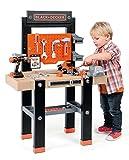Smoby – Black+Decker Werkbank Center – mit viel Zubehör, mechanischem Akkuschrauber, Autobausatz, Lern-App, für Kinder ab 3 Jahren