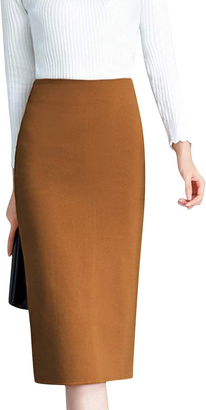 Uaneo Women's Casual Woolen High Waist Below Knee A Line Mid Long Midi Skirt (Camel, Large)