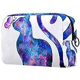 Bolsa de cosméticos portátil de viaje, bolsa de almacenamiento de cosméticos, partición ajustable, se utiliza para brochas de maquillaje, cosméticos, gatos en colores coloridos
