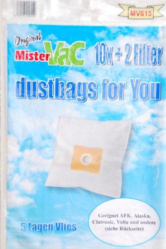 mistervac MV 615 Pack économique de 20 sacs 5 couches en non-tissé et 4 filtres pour Clatronic CTC BS, DirtDevil gamme M/comparable aux Swirl Y93 et Y101