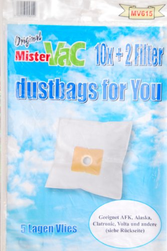 mistervac MV 615 / Staubsaugerbeutel Vlies 5-lagig / Vorteilspack 20 Tüten + 4 Filter / für Clatronic CTC BS, DirtDevil M-Serie
