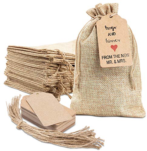 "25x Burlap Bags with Drawstring by DA THYME! 5x7.5"" Small Party Favor Gift Bags + Bonus Gift Tags & String! Brown Bags Bulk..."