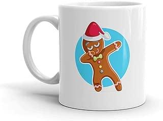 Dozili Funny Coffee Mug - Funny Dabbing Gingerbread Man Cartoon Ceramic Coffee Mug Cup, 11 Oz, White