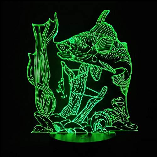 Sanzangtang Led-nachtlampje, 3D-7 kleuren, afstandsbediening, koraal, vis, nachtlampje, kind, nachtlampje voor thuis, aquarium, decoratie, cadeau, bedlampje, nachtlampje