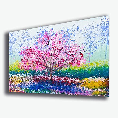 Printerland Cuadro Moderno Abstracto árbol de la Vida 50 x 70 cm Almendra Arte Moderno impresión sobre Lienzo Cuadros Modernos Cocina salón Dormitorio