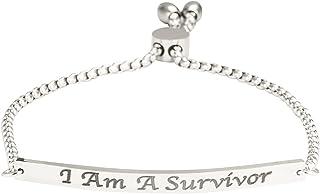 """A N KINGPiiN Pulsera de eslabones ajustable con texto en inglés """"I Am A Survivor"""", con grabado personalizado"""