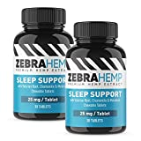 ZEBRA HEMP Natural Sleep Aid Support & Anxiety Relief + Melatonin, Chamomile, Valerian Root, L-Theanine - 60 Tablets (2-Pack)
