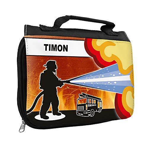 Kulturbeutel mit Namen Timon und Feuerwehr-Motiv für Jungen | Kulturtasche mit Vornamen | Waschtasche für Kinder