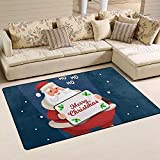 Sesily - Alfombrillas antideslizantes para alfombras de suelo de tejido de poliéster para Papá Noel