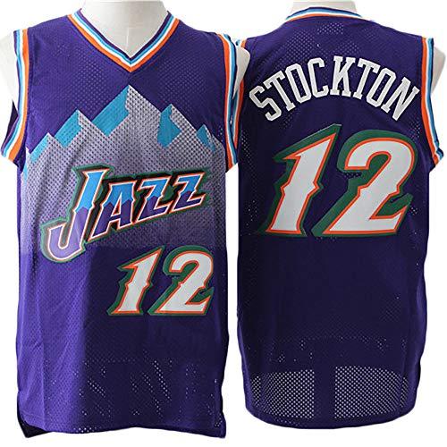 LITBIT Los Hombres de Baloncesto Jersey Nieve de Utah Jazz 12# Stockton Transpirable de Secado rápido sin Mangas del Chaleco Top Sport,Púrpura,M(175cm/65~75kg)